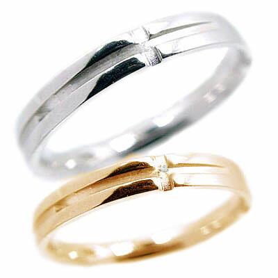 ペアリング 結婚指輪 ピンクゴールド ホワイトゴールドk10 マリッジリング ペア 2本セット ダイヤモンド クロスデザイン K10pg K10wg 指輪 ダイヤ 0.01ct【送料無料】