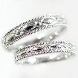 結婚指輪:ペアリング:ホワイトゴールドk10:マリッジリング:ペア2本セット:ダイヤモンド/K10wg指輪ダイヤ0.01ct