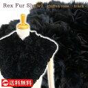 REX レッキスファーショール シフォン バラ ブラック 黒 マフラー ラビットファー 毛皮 防寒小物 即日発送