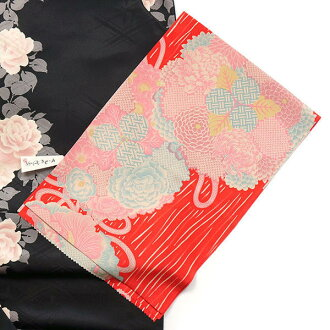 'Debauchery when tender ( silk )-no soshi flyers ( vermilion )-kimono Komon and floral kusudama, kimono / Peony Chrysanthemum silk 100% same day delivery OK! Cash on delivery fee, ♪ etc... support!