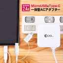 USB Type-C MicroUSB 2in1 ケーブル 急速充電器 2.4A USBコンセプト 電源タップ 一体型 ACアダプター ニンテンドースイッチ Android Galaxy Xperia Huawei