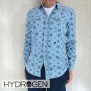 HYDROGEN ハイドロゲン メンズ シャツ スカル 長袖 デニムシャツ ダンガリーシャツ 180544/ライトブルー サイズ:S/M/L/XL