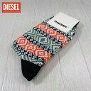 ディーゼル DIESEL メンズ ソックス 靴下 レギュラーソックス 00S3BN 0JAAD 384 HILMYS/カーキ/オレンジ サイズ:M
