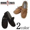 MINNETONKA ミネトンカ モカシン ボア CASEY SLIPPER 4154 4155 ドライビング スエード メンズ シューズ 全2色 CINNAMON/CHOCOLATE 靴 男性/サイズ:7/8/9/10