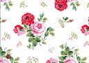 Cath Kidston キャスキッドソン・シーチング生地(約210cm巾)<Antique Rose Bouquet>(アンティークローズブーケ)White/Pink【ARB-WP】
