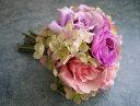 【花材】造花・ローズ スイートミックスブーケ1束 ピンクラベンダー