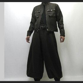 【寅壱/寅一】ピンストライプライダースジャケット&超超ロング八分ズボン上下セット4309シリーズ77.グレー(4309s554418)