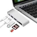 USB-C 5in1 カードリーダー&USB3.0×2ポート ハブ付 Cメス給電ポート付 アダプタ USB3.1 Type C to SD/SDHC UHS-I/SDXC UHS-I/TF/MicroSD/Micro SDHC UHS-I/Micro SDXC/Micro SDXC UHS-I(Max 2TB) For New Macbook chromeBook Pixel Surface Pro4