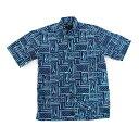 ショッピングダウン アロハシャツ コットン100% 半袖 手染め ハンドメイド ボタンダウンシャツ Mサイズ シャツ ブルー ネイビー あろは あろはしゃつ メンズ【送料無料】