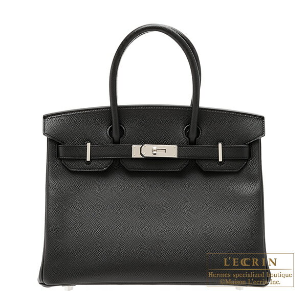 Hermes Birkin bag 30 Black Epsom leather Silver hardware