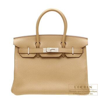 HermesBirkinbag30TabaccamelClemenceleatherSilverhardware