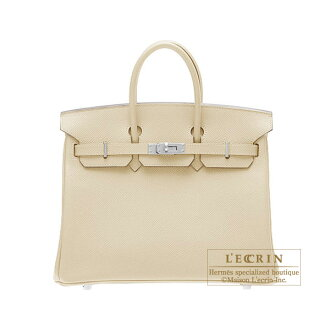 Hermes Birkin bag 25 Parchemin/Parchment beige Epsom leather Silver hardware