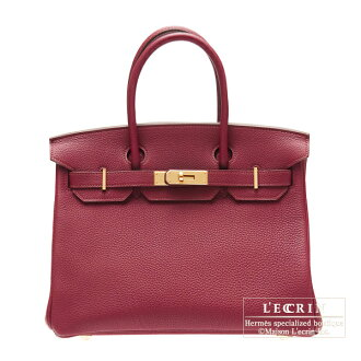 Hermes Birkin bag 30 Ruby/Dark red Togo leather Gold hardware