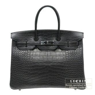 헤르메스 소 블랙 버 킨 35 블랙 크 로커 다 일 악어 매트 블랙 쇠 Hermes So-black Birkin bag 35 Black Matt alligator crocodile skin Black hardware