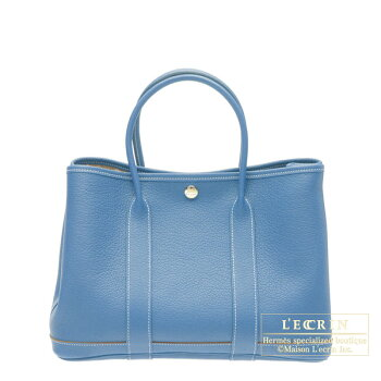 HermesGardenPartybagTPMAzureblueBuffaloleather