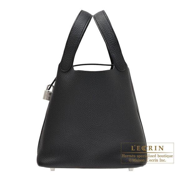 エルメス ピコタンロックMM ブラック トリヨンクレマンス シルバー金具 HERMES Picotin Lock bag MM Black Clemence leather Silver hardware