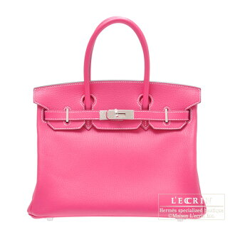 Hermes Birkin bag 30 Rose shocking/Hot pink Chevre goatskin Silver hardware