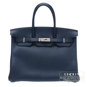 HermesBirkinbag35Bleuobscur/ObscureblueClemenceleatherSilverhardware