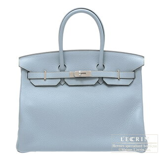 [2012 New Collection] Hermes Birkin bag 35 Bleu lin/Linen blue Clemence leather Silver hardware