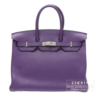 Hermes Birkin bag 35 Ultraviolet Clemence leather Silver hardware