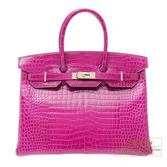 에르메스 버 킨 35 ローズシェヘラザード 악어 ポロサス 실버 브래킷 Hermes Birkin bag 35 Rose scheherazade Porosus crocodile skin Silver hardware