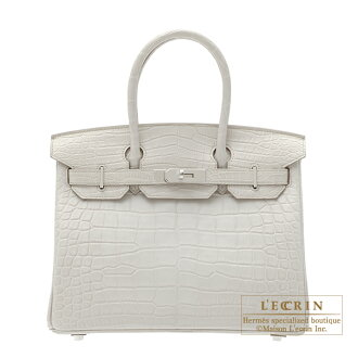 에르메스 버 킨 30 ベトン 크 로커 다 일 악어 매트 실버 브래킷 Hermes Birkin bag 30 Beton/Beton light grey Matt alligator crocodile skin Silver hardware