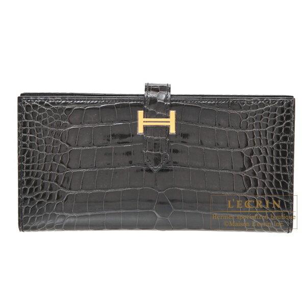 エルメス ベアンスフレ グラファイト クロコダイル アリゲーター ゴールド金具 HERMES Bearn Soufflet Graphite Alligator crocodile skin Gold hardware