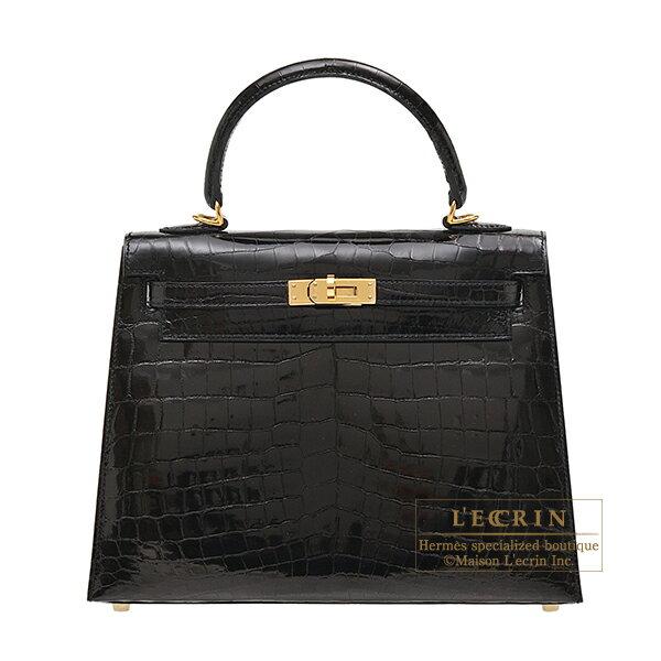 エルメス ケリー25/外縫い ブラック クロコダイル ニロティカス ゴールド金具 HERMES Kelly bag 25 Sellier Black Niloticus crocodile skin Gold hardware