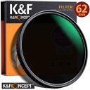 レンズフィルター K F Concept NDフィルター 62mm 可変式 ND2-ND32 減光フィルター X状ムラなし 超薄型 レンズフィルター ネコポス 送料無料