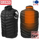 [DRESS(ドレス)] HEAT VEST ヒートベスト[ブラック] 電熱ヒーター内蔵ベスト[サイズ:S/M/L/XL/XXL] USBモバイルバッテリー対応 3段温..