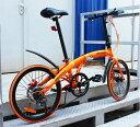 送料税込み!ハチコHACHIKO高炭素鋼折り畳み自転車SHIMANOシマノ7段変速 20インチ 98%完成品 オレンジ(HA02_Orange)