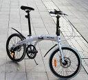 送料税込み!ハチコHACHIKO高炭素鋼折り畳み自転車SHIMANOシマノ7段変速 20インチ 98%完成品 白(HA02_White)