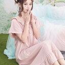 ロマンチック ギャザー フリル 半袖 ロング丈 ドレス ワンピース パジャマ 部屋着 ルームウエア ネグリジェ
