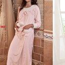 あったか素材 ふわもこ ロマンチック ポンポン付き ロング丈 長袖 ワンピース パジャマ 部屋着 ルームウエア 冬