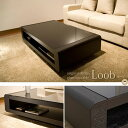 【ポイント5倍】 リビングテーブル ローテーブル ガラステーブル モダン デザイン ブラックガラストップリビングテーブル Loob ブラック 673d-130-bk