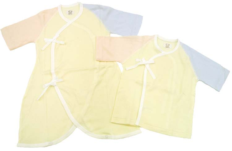 メール便送料無料日本製3配色ベビー肌着セット(短肌着+コンビ肌着)新生児ベビー肌着
