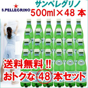 【送料無料】サンペレグリノ  天然炭酸水 (炭酸水)ペットボトル 500mL× 48本入【D】【RCP】