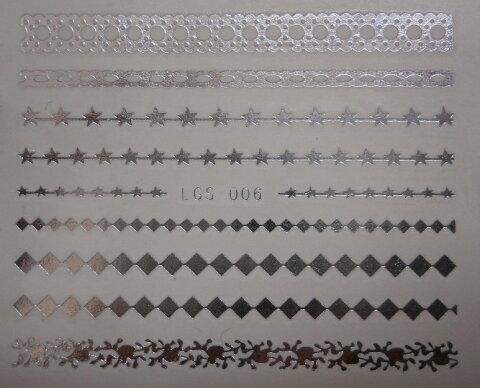 【メール便OK】ネイルシール395 ネイルタトゥー レース シルバー006 ウォーターネイルシール水に塗らして貼るだけの極薄フィルム★ジェルネイル埋め込み簡単