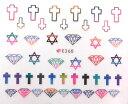 【メール便OK】ネイルシール737 カラフル クロス 十字架 ダイヤモンド 宝石