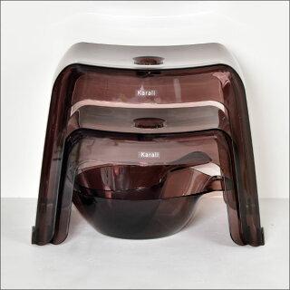 お風呂椅子高さ20cmお風呂いすおしゃれお風呂イスインテリア雑貨バスチェアーバスチェアお風呂グッズkarali腰かけ20H3点セット手おけ湯おけクリアかわいいお風呂セットバスチェアバススツール北欧テイスト日本製リッチェルバスチェア