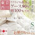 高品質でうれしい価格!東京西川 ロシア産ダウン90% ふわふわ&さらさら! 夏用 羽毛布団 シングル 肌掛け布団 日本製 洗える 西川産業 羽毛肌掛けふとん