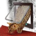 IMAGEペットドア 猫ドア 扉 猫、小犬用 ペットの冬期対策 猫も人間も大満足!4WAYタイプ キャットドア 三つサイズ 取引説明書付け(茶色/白色)S/M/L