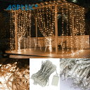 AGPtek LEDイルミネーションライト カーテンライト 3MX3M/300LED 酒場 バー 雰囲気作り クリスマスパーティー 結婚式で大活躍 8種類点滅パターン 複数連結可能 コントローラ付き(日本語取扱書付き)