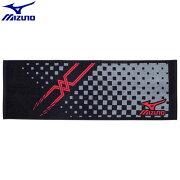 トレーニングウエア アクセサリー ミズノ MIZUNO スポーツタオル(96)ブラック×レッド 32JY610196