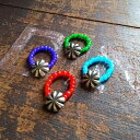 BUTTON WORKS [ボタンワークス] SMALL CONCHO BEADS RING [RED,COBALT,TURQUOISE,GREEN] スモールコンチョビーズリング(レッド、コバルト、ターコイズ、グリーン)