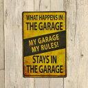 """メタルサイン """"MY GARAGE MY RULES"""" マイガレージ マイルールズ 30.5cm×20.5cm ■ ティンサイン ブリキ看板 インテリア 壁掛け 警告風"""