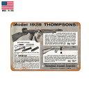 【ブリキ看板】1928 THOMPSON(トンプソン) ビンテージ調 看板 30.5cm×23cm【雑貨 インテリア 壁掛け ガレージ レトロ 広告 銃 ガン ミリタリー マフィア ブラック グレー】