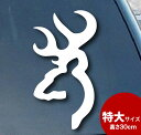 BROWNING 鹿 マーク 特大サイズ 約30.5cm×約13.5cm ホワイト 切り抜きデカール