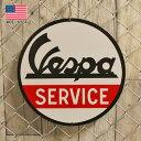 メタルサイン Vespa SERVICE ベスパ サービス 丸型 看板 直径35.5cm アメリカ製 ■ バイク スクーター イタリア ブリキ看板 ティンサイン インテリア 壁掛け ラウンド