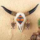 ハンドペイント 水牛 スカル オブジェ 【インテリア】アステカ ウォールデコレーション 壁掛け 頭蓋骨